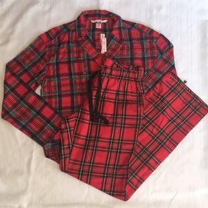 LAST ONE!! New VS Red Plaid Flannel Pajama Set